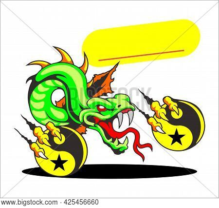 The Yellow Green Dragon Stuck Out A Red Tongue With Fireballs On Both Legs. Dragon Cartoon Vector Il
