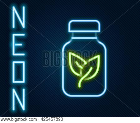 Glowing Neon Line Fertilizer Bottle Icon Isolated On Black Background. Colorful Outline Concept. Vec