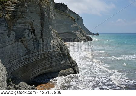 Cliffs In Peroulades Village On Corfu Island In Greece, Unique Geological Formations In Peroulades R