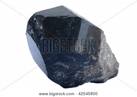 Crystal of black quartz it is isolated on a white background poster