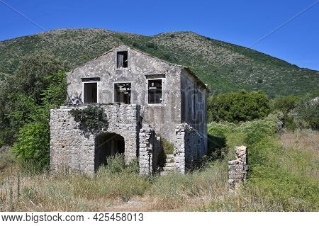 Old Perithia, Corfu Island Oldest Village, Incredible Ruins Of Stone Build Houses, Close To Mount Pa