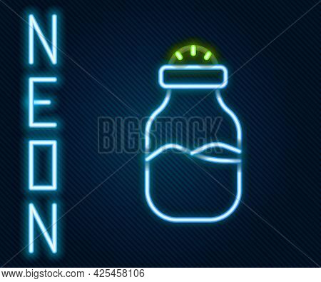 Glowing Neon Line In Can Icon Isolated On Black Background. Seasoning Collection. , Condiments In A