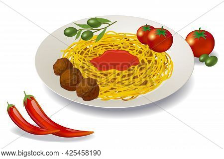 Isometric Vector Italian Food. 3d Rendering, Pasta, Spaghetti With Green Olives, Chilli And Tomatos