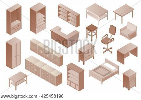 Isometric Vector Furniture Set. Collection Of Brown Monochrome Furniture, 3d Rendering. Isometric Di