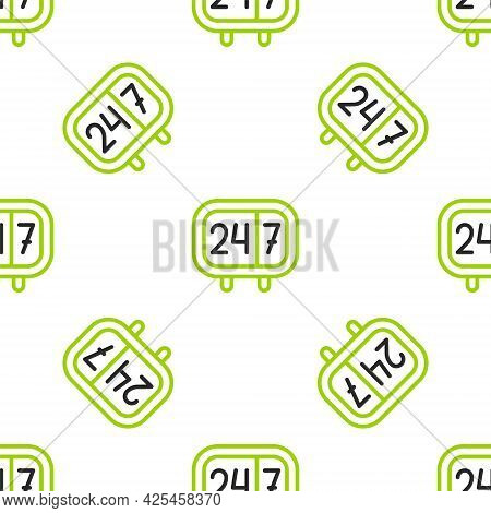 Line Clock 24 Hours Icon Isolated Seamless Pattern On White Background. All Day Cyclic Icon. 24 Hour