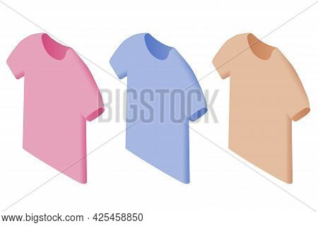 T Shirt Design, Dress Collection. Tshirt Set In Different Colors. T Shirt Mockup For Your Design Pro