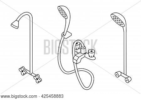 Shower Illustration Set. Collection Of Isometric Outline Shower Illustration With Black Thin Line Is