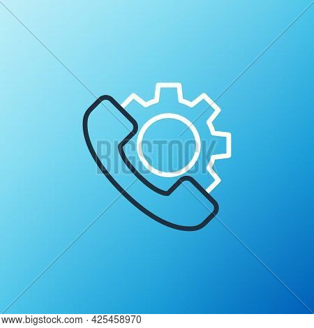 Line Telephone 24 Hours Support Icon Isolated On Blue Background. All-day Customer Support Call-cent