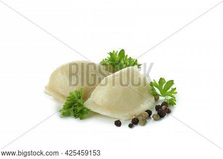 Tasty Vareniki Or Pierogi Isolated On White Background