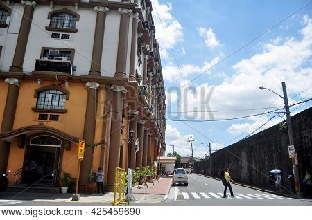 View Landscape Cityscape And Modern Building Department Of Filipino People Driving Riding Biking And