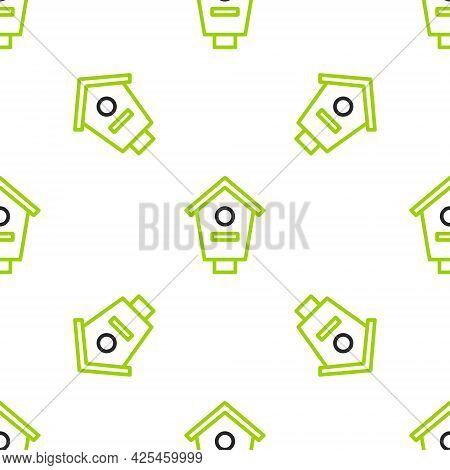Line Bird House Icon Isolated Seamless Pattern On White Background. Nesting Box Birdhouse, Homemade