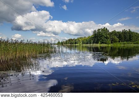 Clean And Large Aluksnes Lake In The Aluksne Region Of Latvia. The Eleventh Largest Lake In Latvia.