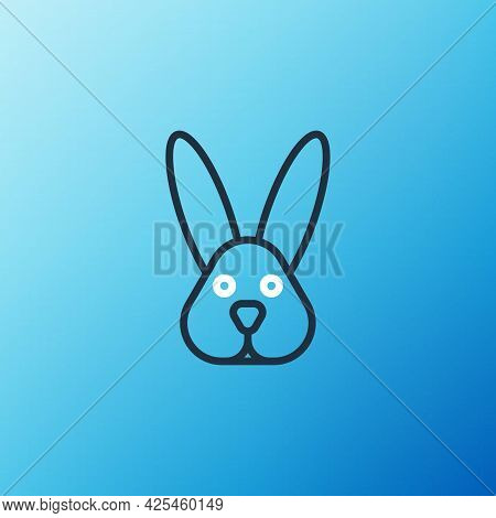 Line Animal Cruelty Free With Rabbit Icon Isolated On Blue Background. Colorful Outline Concept. Vec