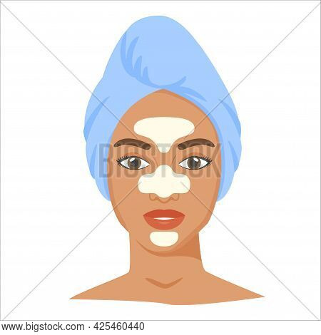 Young Black Woman With T-zone Strips And Towel On Head. Skincare Procedures At Home. Cosmetic Patche