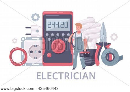 Electrician Cartoon Composition With Male Human Character Of Handyman In Uniform With Tools And Edit