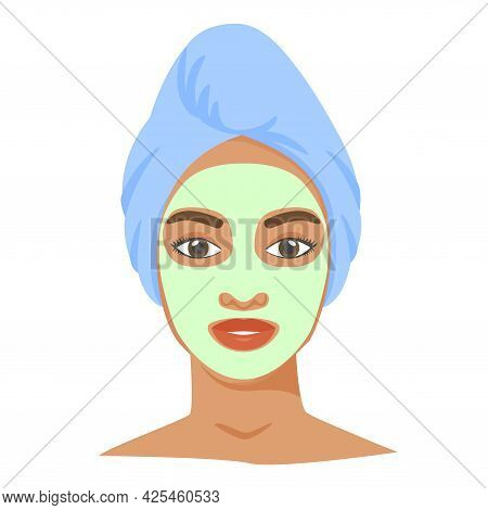 Young Black Woman With Cosmetic Mask And Towel On Head. Skincare Procedures At Home. Cosmetic Clay O