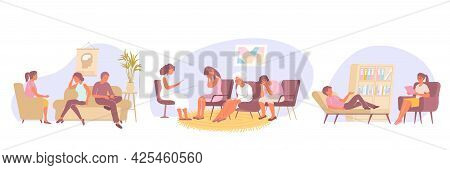 Flat Psychology Set Of Three Compositions With People During Family Group And Individual Therapy Wit