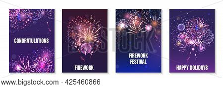 Firework Animation Realistic Poster Set With Congratulations And Festival Symbols Isolated Vector Il