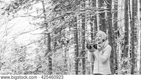 Feeling Warm And Happy. Hobby Time Outdoor In Winter Day. Admiring Winter Mountain Landscape. Happy