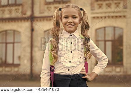 I Love School. Happy Girl Back To School. Little Child Wear School Uniform. School Essentials. Knowl