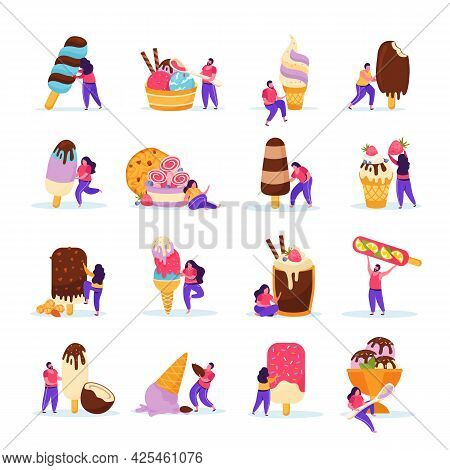 Flat Icons Set With People And Delicious Ice Cream Of Different Kinds With Berries Chocolate Topping