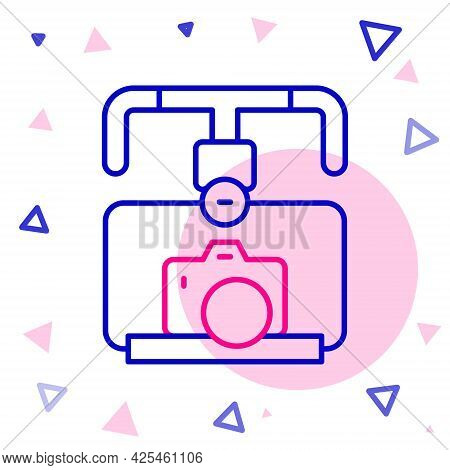 Line Gimbal Stabilizer With Dslr Camera Icon Isolated On White Background. Colorful Outline Concept.