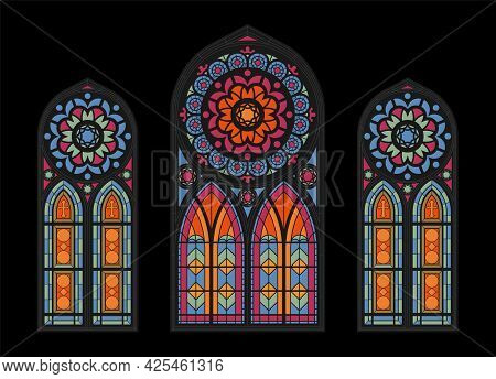 Stained Glass Colorful Mosaic Cathedral Windows On Dark Background Gothic Church Beautiful Interior