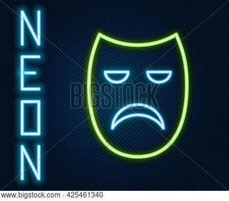 Glowing Neon Line Drama Theatrical Mask Icon Isolated On Black Background. Colorful Outline Concept.