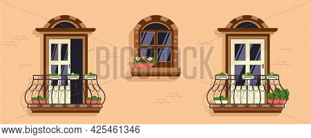 Wrought Iron Elegant Ironwork Decorative Balconies Doors Window Adorned Southern Lime Plastered Wall