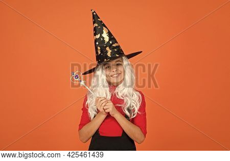 I Am A Witch. Witchcraft And Enchantment. Believe In Miracles. Happy Halloween. Smiling Child In Hat