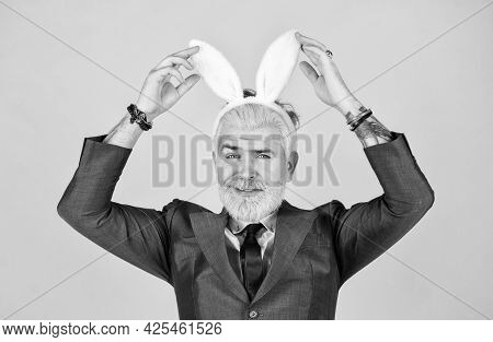Having Fun. Bearded Man Bunny Ears On Head. Funny Boss. Bunny Easter Symbol. Spring Holidays Celebra