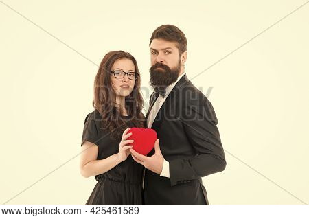Our Special Day. True Feelings. Celebrate Anniversary. Married Couple Hold Red Heart Toy. Happy Rela
