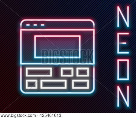 Glowing Neon Line Video Recorder Or Editor Software On Laptop Icon Isolated On Black Background. Vid