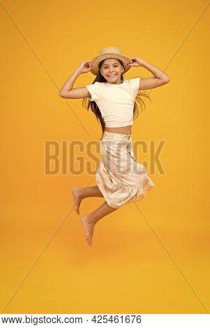 Feel So Free. Barefoot Kid Feel Freedom. Full Of Happiness. Summer Kid Fashion. Little Girl Jumping
