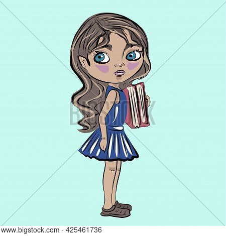 Girl, Girl With Books. Student, Schoolgirl. Reading, Education, Books. Isolated Vector Objects.