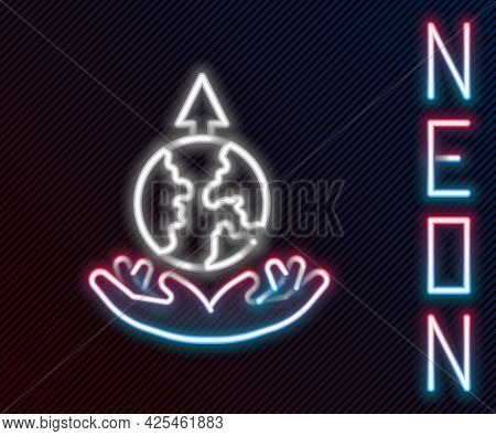 Glowing Neon Line World Expansion Icon Isolated On Black Background. Colorful Outline Concept. Vecto