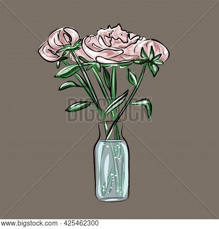 Peonies, Pink Roses, A Bouquet Of Flowers In A Glass Vase, Bottle. Interior Design. Isolated Vector