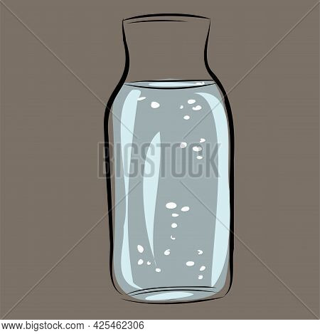 Glass Pitcher Of Water, Jug . Water With Bubbles In A Glass Jar. Kitchenware, Kitchen Utensils. Isol