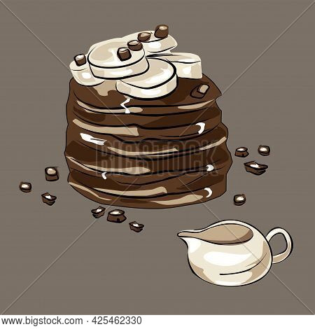 Pancake Cake With Bananas And Chocolate. A Gravy Boat, A Jug Made Of Clay. Proper Nutrition, Veganis