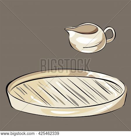 Ceramic Kitchen Utensils. Nude Tones. Cooking Food. Sauce-bowl, Jug And Tray, Plate. Isolated Vector