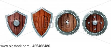 Game Wooden Shield Icon Set, Cartoon Medieval Warrior Armor Vector Illustration Isolated On White. F