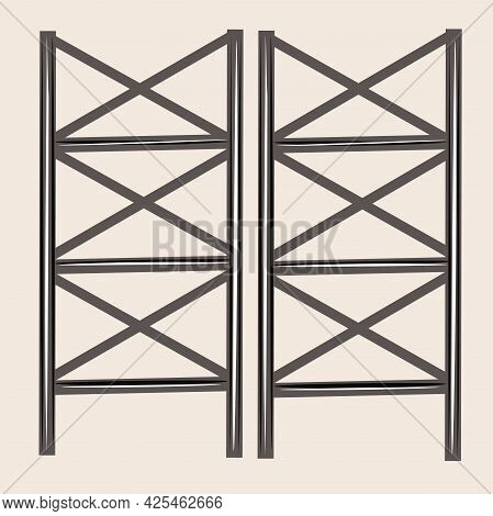 Furniture Made Of Wood And Metal. Loft Style Bookcase. Modern Interior Design. Isolated Vector Objec