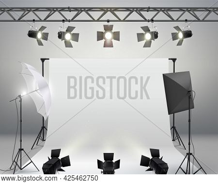 White Backdrop Background For Photography. Professional Photo Studio Interior With Professional Equi