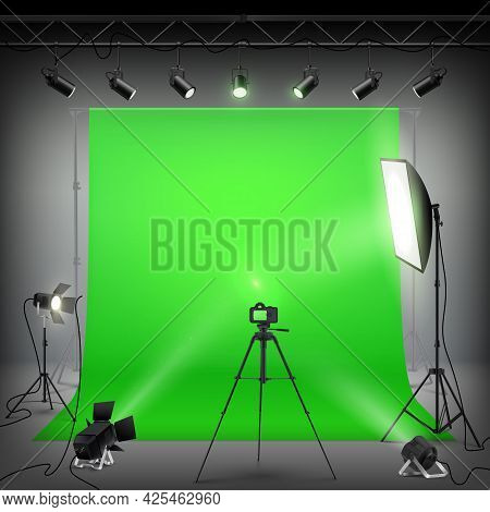 Green Backdrop Background For Photography. Professional Photo Studio Interior With Professional Equi