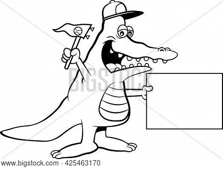 Black And White Illustration Of An Alligator Wearing A Baseball Cap And Holding A Pennant And A Sign