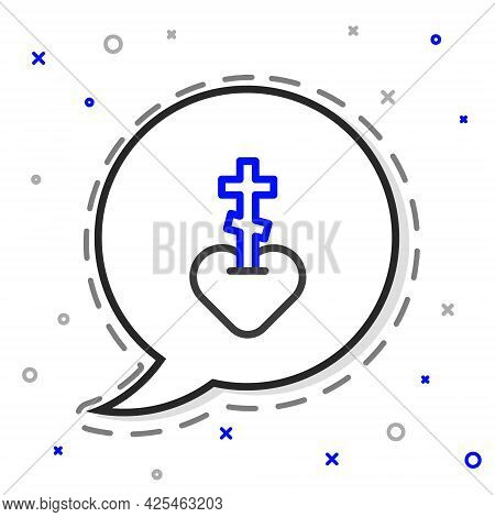 Line Religious Cross In The Heart Inside Icon Isolated On White Background. Love Of God, Catholic An