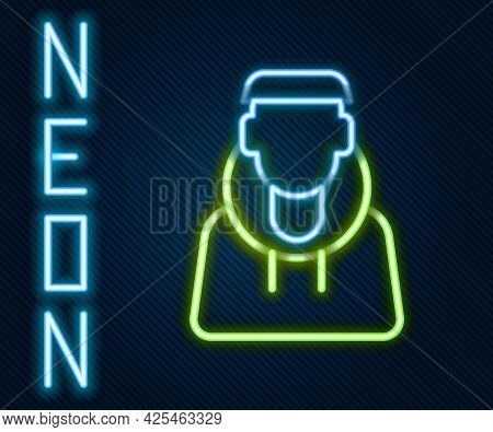 Glowing Neon Line Monk Icon Isolated On Black Background. Colorful Outline Concept. Vector