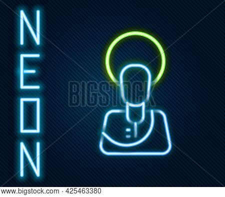 Glowing Neon Line Jesus Christ Icon Isolated On Black Background. Colorful Outline Concept. Vector