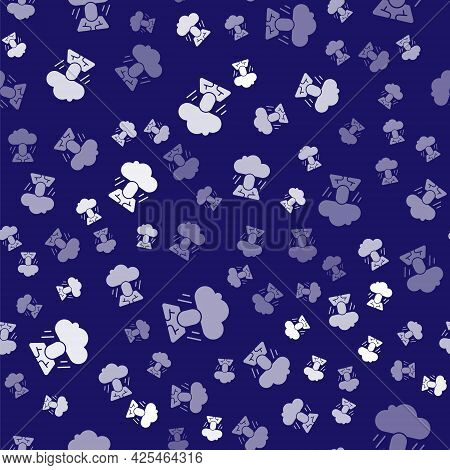 White Depression And Frustration Icon Isolated Seamless Pattern On Blue Background. Man In Depressiv