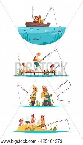Recreational Fishing 4 Compositions With Couple In Boat Family On Beach Angling Catching Cooking Fis